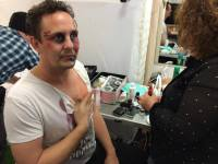 man getting movie makeup special effects